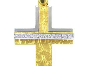 Σταυρός 14Κ από Χρυσό και Λευκόχρυσο SVK1123