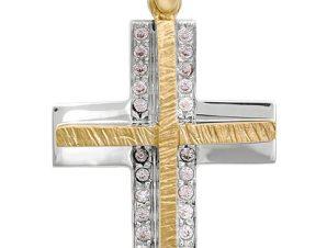 Σταυρός 14Κ από Χρυσό και Λευκόχρυσο SVK17