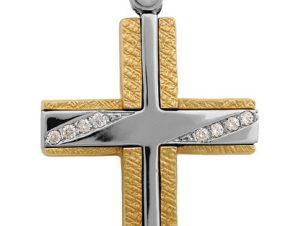 Σταυρός 14Κ από Χρυσό & Λευκόχρυσο SVK2255