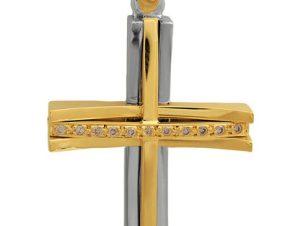 Σταυρός 18Κ από Χρυσό και Λευκόχρυσο SVK2345