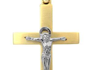 Σταυρός 14Κ από Χρυσό και Λευκόχρυσο SVA2516