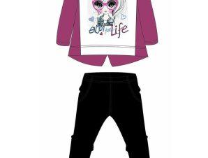 Φούτερ φόρμα με διακοσμητικό φιόγκο στη μπλούζα 15-119385-0 – Μαύρο – 15821-10/12/1/109