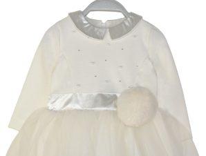Φόρεμα με τούλι, διακοσμητικές πέρλες και λεπτομέρεια γούνα στη μέση 44-120472-7 – Εκρού – 18650-16/12/158/432