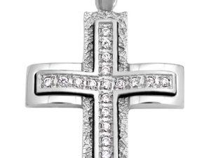 Σταυρός 14Κ από Λευκόχρυσο με Ζιργκόν SIO51411