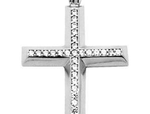 Σταυρός 14Κ από Λευκόχρυσο με Ζιργκόν SIO51512