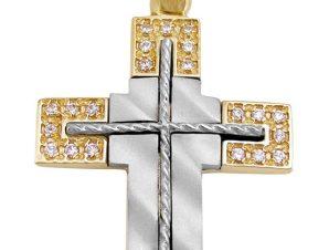 Σταυρός 14Κ από Χρυσό & Λευκόχρυσο με Ζιργκόν SIO51611
