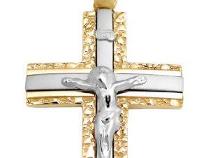 Σταυρός 14Κ από Λευκόχρυσο και Χρυσό SIO52111