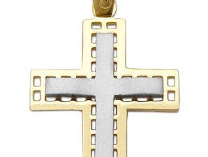 Σταυρός 14Κ από Λευκόχρυσο και Χρυσό SIO52512