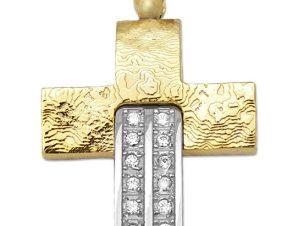 Σταυρός 14Κ από Χρυσό & Λευκόχρυσο με Ζιργκόν SIO56012