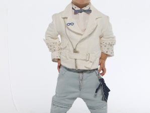 "Baby u Rock Βαπτιστικό Κουστουμάκι ""Περσέας"" Λευκό-Σιέλ B08"