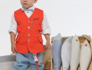 "Baby u Rock Βαπτιστικό Κουστουμάκι ""Ερμής"" Πορτοκαλί-Σιέλ B03"