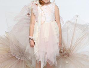 "Baby u Rock Φόρεμα Βάπτισης ""Camelia"" Εκρού-Ροζ G09"