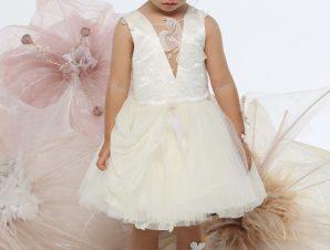 "Baby u Rock Φόρεμα Βάπτισης ""Greta"" Υπόλευκο G10"