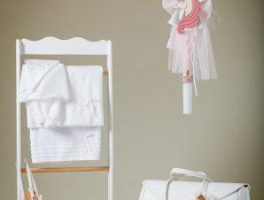 """Jour Beni Σετ Βάπτισης """"Μονόκερως"""" Λευκό-Ροζ 9SG04"""