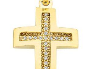 Σταυρός από Χρυσό 14Κ με πέτρες SIO11606